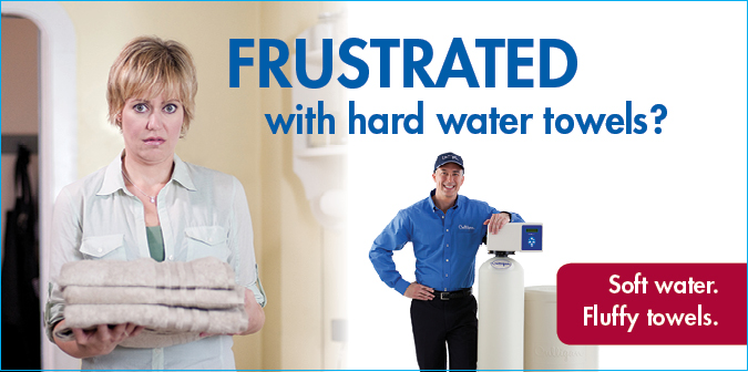 Frustrated with hard water towels? Soft water. Fluffy towels.