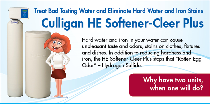 Hard water and iron in your water can cause unpleasant tast and odors, stains on clothes, fixtures, and dishes. In addition to reducing harness and iron the HE Softener-Cleer Plus stops that rotten egg odor, hydrogen sulfide.